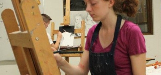 Helen Tosteson works on a piece in the ASP Studio. Photo courtesy of Rob Schrader.