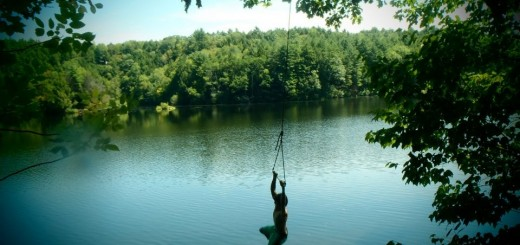 Rope swings along the Connecticut River is how many students at HHS enjoyed their summer. Pictured: Rocco Linehan.  Photo by Alec Murphy