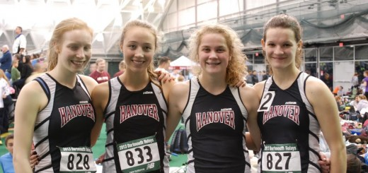 The 4X400m Girls' Relay Team at Dartmouth Relays. Left to Right: Sophie Bartels, Sophie Lubrano, Claire Messersmith, and Aidan Bardos.  Photo Courtesy: Aparna Alavilli