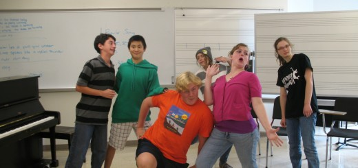 Members of the HHS Improv Club meet in the Music Theory room for improvised fun.