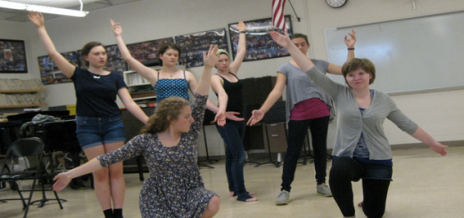 Members of The Would Be Gentleman's ensemble practice of a dance (Photo courtesy of Kim Sullivan)