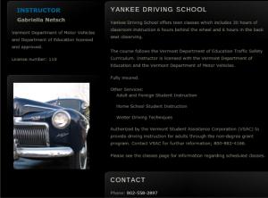 Yankee Driving School Website