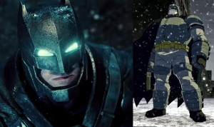 A comparison of Batmans from Dawn of Justice (left) and The Dark Knight Returns (right) - comicbooks.com