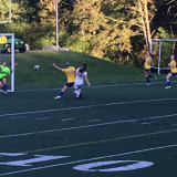 The girls varsity soccer team scores a goal against Kearsarge. The Marauders won with a 2-0 score.