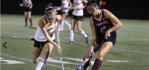 Jasmine Lou ('19) takes on a player from Souhegan High School in the field hockey D-II semifinal. Hanover won and went to the final, where they lost to Windham. Credit: Valley News - Charlie Hatcher. Republished with permission from Valley News.