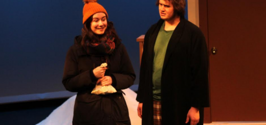 "Seniors Holly Dickinson and Brendan Dufty  in the Footlighters' production of ""Almost, Maine"". Photo by Sophie Caulfield."