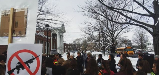 Hanover High students in support of increased gun control participated in a walkout today at 2:19PM to honor the victims of a recent school shooting in Parkland, Florida, and bring attention to the controversial current gun policies. Photo by Sophie Caulfield ('21).