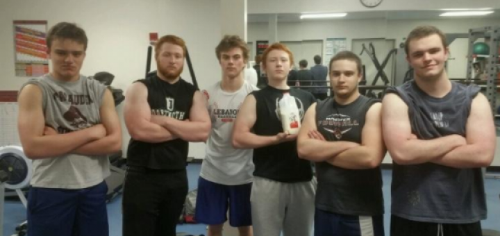 Recent photo of Regular Morning Lifters on March 23. From left to right: Ben Wagner, Robert Putnam, Jack Loftus, Elijah Putnam, Colby Marsh, and Eamon Worden. Chris Robertson is missing from the picture.