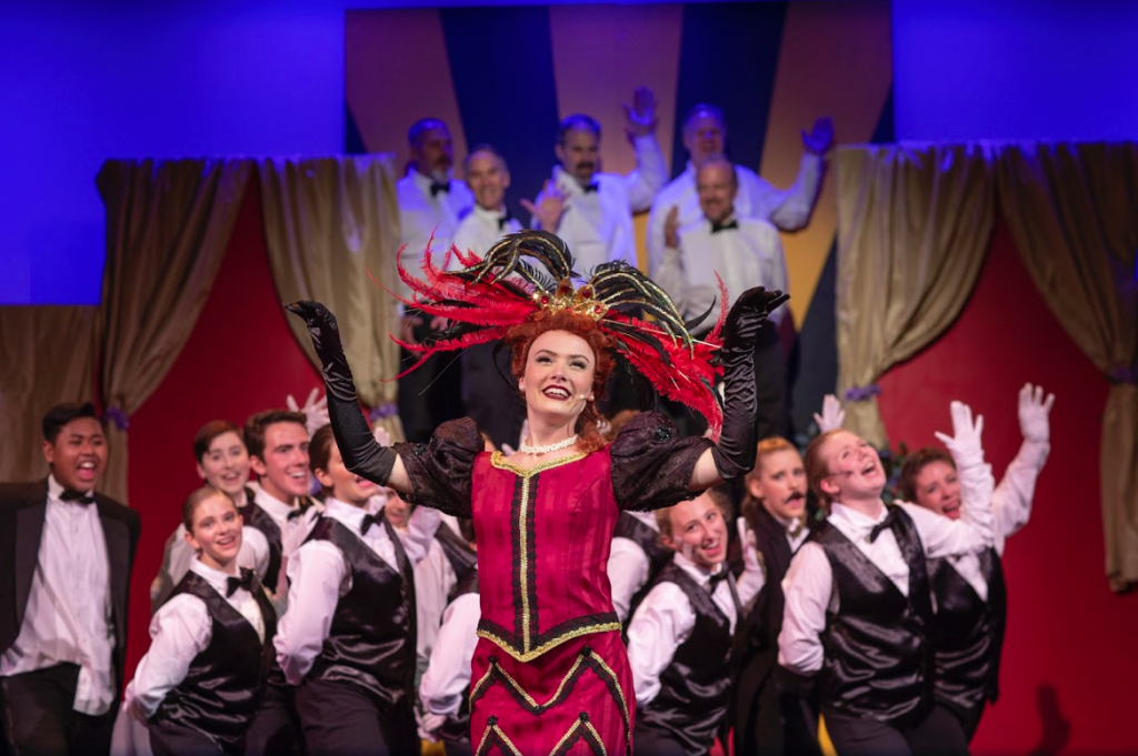 "Iva Wich stars as Dolly in the Footlighters' presentation of the musical ""Hello, Dolly!"" Photograph by Mark Washburn."