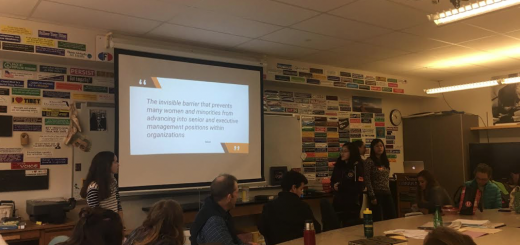 HHS senior Molly Cook and three classmates from her gender studies class at Dartmouth College gave a presentation about women in the workplace in November.